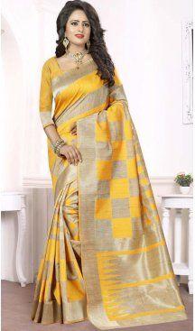 Silk Yellow Color Printed Casual Wear Saree Blouse | FH575185148 Follow us @heenastyle  #Saree #SareeOnline #SareeShop #BuySareeOnline #PrintedSaree #ElcladOfficial #BuyDesignerSaree #SareeshoppingOnline #SareeShopping #SareeLove #SareeLover #SareeIndia #heenastyle
