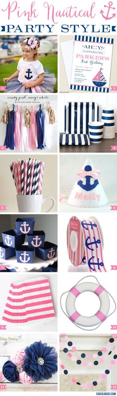 Pink nautical party style