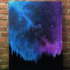 Mildes Wunder: Stardust Galaxy (original Kunst große original-Gemälde, blau lila Acryl, Leinwand, Raum, Kunst Malerei Nachthimmel)