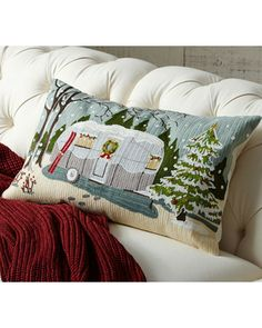 Pottery Barn Camper Embroidered Lumbar Pillow Cover from Pottery Barn | BHG.com Shop