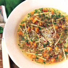 Lentil and Linguine Soup Recipe - we liked this. Simple yet flavorful. Used spinach linguine and added red pepper. Pepper flakes added a nice kick!