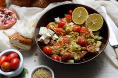 One of my family's favourite breakfast dishes is a fresh Israeli chopped salad with feta, za'atar and sumac. It's quick, easy, and perfect for additions.