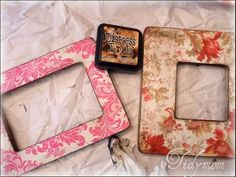 frames. mod podge, scrap book paper, and an aged look