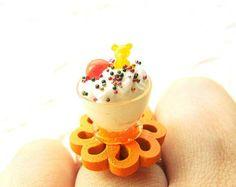 Kawaii Food Ring Ice Cream Orange Candy Miniature Food Jewelry SALE