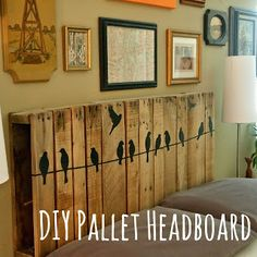DIY Pallet Headboard - Make a fun statement with an easy (and usually free) headboard. Add some details with an easy and removeable add-on.