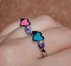 fire opal Amethyst ring gemstone silver jewelry Sz 7.5 Heart Love cocktail band #Unbranded