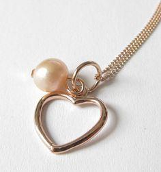 Herz mit Rosegold-Kette 925 Silber  von soschoen auf DaWanda.com