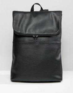 Рюкзак из искусственной кожи с откидным клапаном ASOS