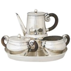 William Spratling Sterling Silver and Rosewood Tea Set with Tray | From a unique collection of antique and modern tea sets at https://www.1stdibs.com/furniture/dining-entertaining/tea-sets/
