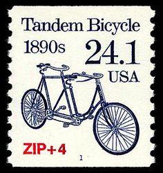 tandem bicycle stamp 1890s usa