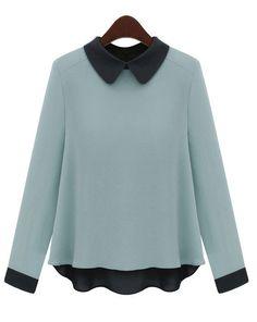 Vintage Color Matching Long-sleeved Chiffon Shirt Blue - Sheinside.com