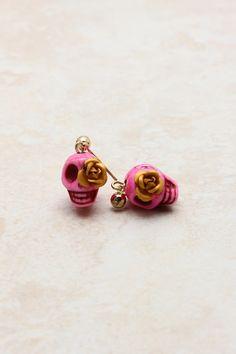 Raspberry Skully Earrings on Emma Stine Limited
