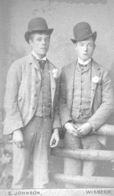 These two boys had a calling card made for them by E.Johnson of Lower Hill House, Wisdbech. What date is their costume?