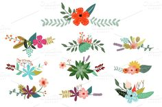Vintage Vector Flowers ~ Illustrations on Creative Market