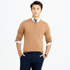 J.Crew - Merino wool crewneck sweater; Size Medium Tall, Color - Camel