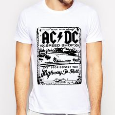 AC DC Brian Johnson GUITAR T Shirts Men Black Sitcoms AC/DC Mens Shirt Rock n Roll Hall High Way To Hell Euro Size Free Shipping #camiseta #friki #moda #regalo