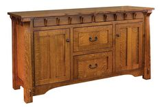 The stunning Amish Manitoba Buffet has a sturdy and stylish Mission design that will make a beautiful addition to any dining room. This Mission buffet features beautiful corbel detailing, tapered corner posts and three different size options to best fit your home and dining needs. Two unique hidden drawers are built into the design of this piece right under the buffet top so it looks like part of the design.