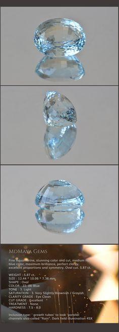 Genuine Aquamarine Gemstone . Fine Aquamarine, stunning color and cut, medium rich blue color, maximum brilliance, perfect clarity, excellent proportions and symmetry. Oval cut. 5.87 ct.