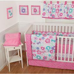 Sumersault GiGi Floral 9-Piece Nursery in a Bag Crib Bedding Set with BONUS Bumper Walmart