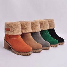 Women Boots Winter Shoes Fur Warm Square heels Ankle Boots Shop your Women Boots Winter Shoes Fur Warm Square heels Ankle Boots now! Slip On Boots, Fur Boots, Shoe Boots, Boots With Fur, Cowgirl Boots, Western Boots, High Boots, Riding Boots, Warm Snow Boots