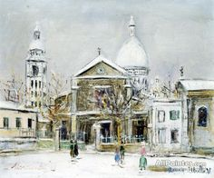Maurice Utrillo Place Saint-pierre In Montmartre With Sacre-coeur In The Background oil painting reproductions for sale
