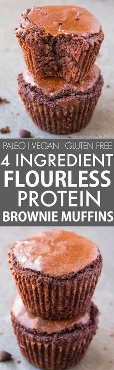 4 Ingredient Flourless Protein Brownie Muffins (Paleo, Vegan, Gluten Free)