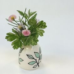 Bud Vase / Two Tone Leaves Mint/Grey by krystalspeck
