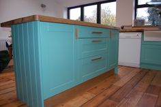 Handmade island unit sprayed in Farrow and Ball Arsenic. Solid Oak worktop. In a victorian terraced house in Bristol