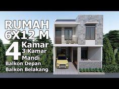 Rumah 6x12 m dengan 4 kamar tidur, 3 Kamar Mandi dan area terbuka dibelakang lantai 2 - YouTube Minimalist House Design, Small House Design, Minimalist Home, 4 Bedroom House Plans, House Floor Plans, Home Design Plans, Architecture Design, Villa, How To Plan