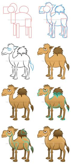Learn how to draw a cool cartoon camel made from basic shapes and simple effects. #howtodraw #cartooncamel #camel #drawinglesson