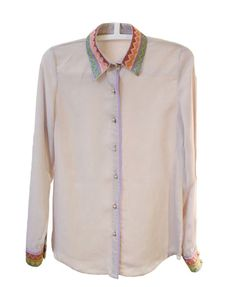 Ethnic Chiffon Shirt with Embroidery Details