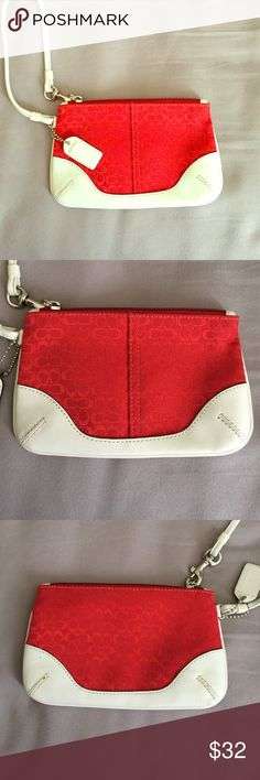 Red Coach Wristlet Red Coach Signature Wristlet, almost excellent condition. Great for quick on the go carrying! Coach Bags Clutches & Wristlets