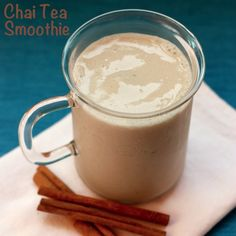Chai Tea Smoothie....milk + chai tea,  a frozen banana and a touch of vanilla extract. For breakfast. Yes please!