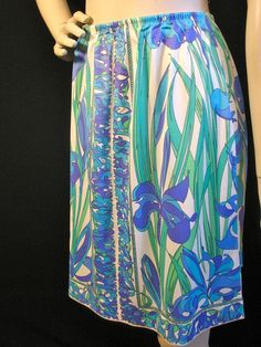 Beautiful circa early 70s Pucci nylon half slip. A rich and beautiful blue and purple irises print was designed for Form Fit Rodgers and the
