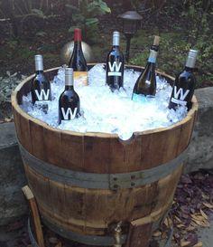 DIY Outdoor Bar Ideas With Wash Basins Wine Barrel Diy, Crate And Barrel, Wine Barrels, Barrel Table, Diy Outdoor Bar, Outdoor Patio Designs, Outdoor Living, Outdoor Decor, Diy Bar