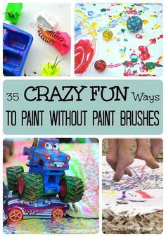 Have fun painting without paint brushes with these crazy fun ideas! Check out these 35 painting activities. Unleash the creativity of your children with these painting activity ideas! These fun ideas would be great for a fun afternoon! Summer Activities For Kids, Preschool Activities, Dinosaur Activities, Summer Fun For Kids, Motor Activities, Physical Activities, Fun Crafts, Crafts For Kids, Arts And Crafts