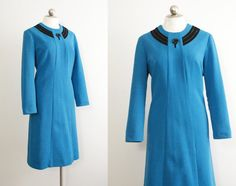 ff412074304 60s - 70s vintage Nelly Don shift dress    long sleeve vintage dress     bright blue polyester knit    size L - XL