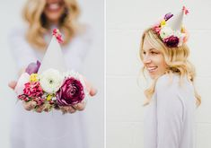 DIY floral party hats | Photo by Cambria Grace Photography | Design by  Lauren Wells Events | 100 Layer Cake