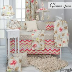 Can't decide between soft, feminine florals and bold, trendy chevrons? No problem - Glenna Jean Harper crib set is the solution! Bring spring inside with this watercolor-look 3 piece set. Includes quilt, dotted sheet and crib skirt. Shop our entire Glenna Jean collection!  http://www.pishposhbaby.com/glenna-jean-swizzle-bedding-set.html