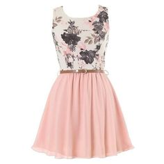 Sweetest Peach Dress ❤ liked on Polyvore featuring dresses, vintage dresses, peach pink dress, floral day dress, thin belt and pink floral print dress