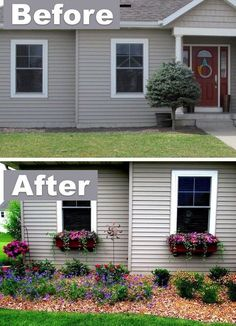 Add character with window boxes! ~ 17 Impressive Curb Appeal Ideas (cheap and easy!Would LOVE to do a garden next to my house like this (not the window boxes though). Outdoor Spaces, Outdoor Living, Outdoor Decor, Gazebos, Window Boxes, Window Planters, Window Flower Boxes, Window Frames, Window Sill