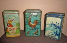 3 old french tins