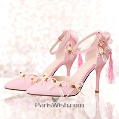 8980e5fc6c8e08 Pointed Toe Flowers And Leaves Pink Wedding HeelsPlease Contact the  customer service if you want to