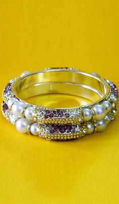 #Bangles & #Bracelets - Stone & Pearl Studded Bangles Costs Rs. 715. #Jewellery. BUY it here: http://www.artisangilt.com/imitation-jewellery-fashion-jewelry/bangles-bracelets/stone-pearl-studded-bangles-76358.html?ref=pin