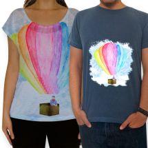 Camisetas masculinas e femininas.