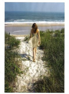 reminds me of years living by the Southern Ocean when we would walk a path like this to the wildest of seas. And yeah, I looked just like this svelte woman, too.