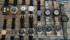 15 watches today!  Three limited edition Hublot Camo pieces, a pair of Panerai Luminors, a pair of vintage Omega watches, plus pieces from Oris, Bremont, Bulgari, and Tissot.  Let us know if you have questions on any of these pieces. Popular Watches, Vintage Omega, Mechanical Watch, Whats New, Omega Watch, Camo, This Or That Questions, Camouflage, Mechanical Clock