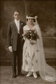 Retouched photo of my Great-Grandparents on their Wedding Day.    Digital Drawing by Arielle Hebert, via Behance