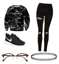Dreamer by flaminpotatos on Polyvore featuring polyvore, Mr. Gugu & Miss Go, Topshop, NIKE, Ray-Ban, fashion, style and clothing