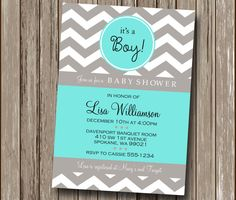 Trendy Chevron Baby Shower Invitation or Bridal Shower Invitation - You Print File - Any Color or Occasion!